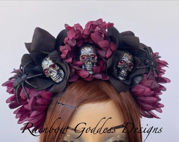 Rose Skull Crowns, Day of the Dead Flower Crown, Día de los Muertos Headdress, Veiled Headdress, Skull Headband, Magenta & Black Rose Crown