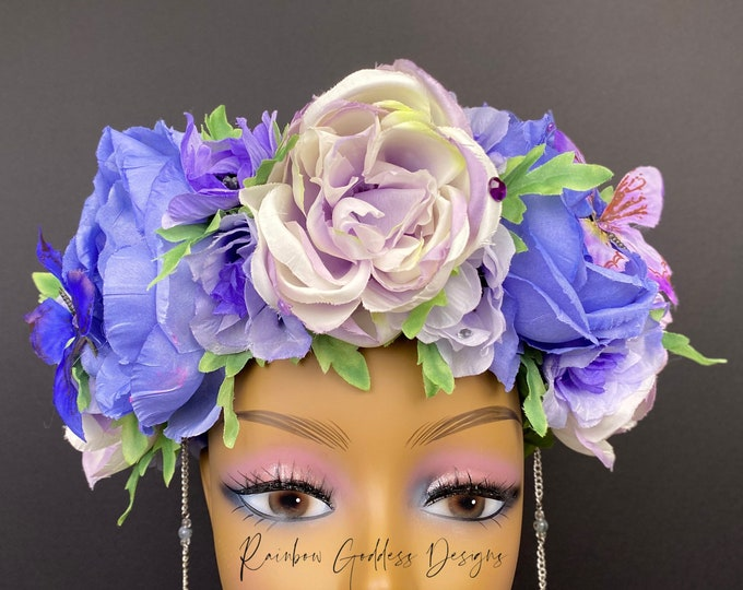 Purple Flower Crown, Fairy Crown, Floral Crown, Purple Headdress, Floral Headdress, Flower Headdress, Rose Crown, Fairy Costume, Wedding