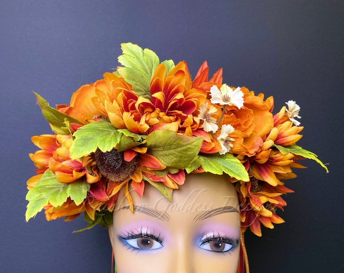 Fall Flower Crown, Autumn Flower Crown, Flower Head Wreath, Floral Headpiece, Floral Headband, Wedding Crown, Fairy Wreath, Sunflower Crown