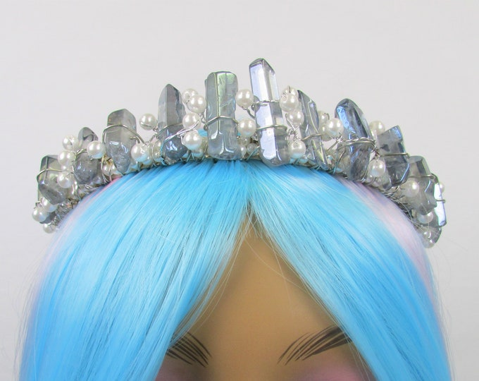 Smokey Blue Crystal Crown, Tiara, Headband, Festival Crown, Rave Crown, Mermaid Crown, Rave Headpiece, PLUR, Gifts for Her, Daughter
