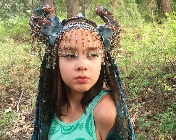 Horned Headdress, Flower Headdress, Ram Horns, Goat Horns, Lace Headdress, Horned Headband, Satyr Headdress, Cosplay, Fairy, Halloween