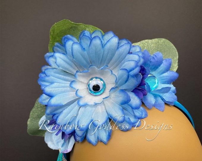 Blue Flower Headband, Flower Crown, Eyeball Headband, Floral Crown, Floral Headpiece, Halloween Headband, Kids Headband, Kids Halloween