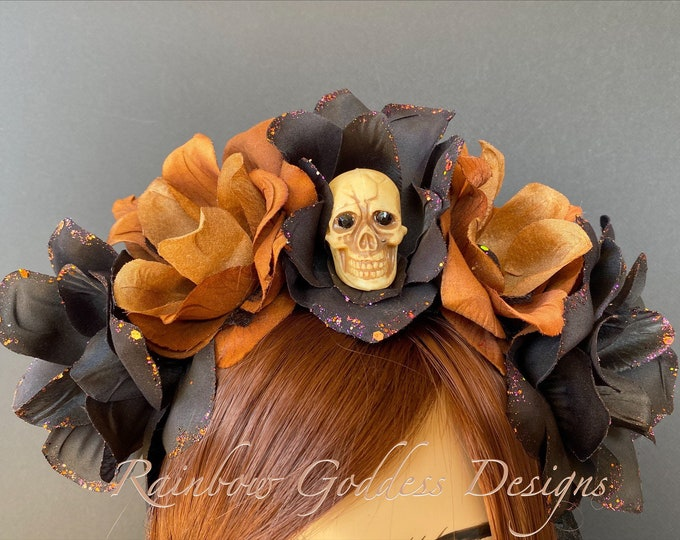 Brown Flower Crown, Floral Headpiece, Black Rose Headband, Floral Crown, Flower Crown Headband, Flower Headband, Day of the Dead, Halloween