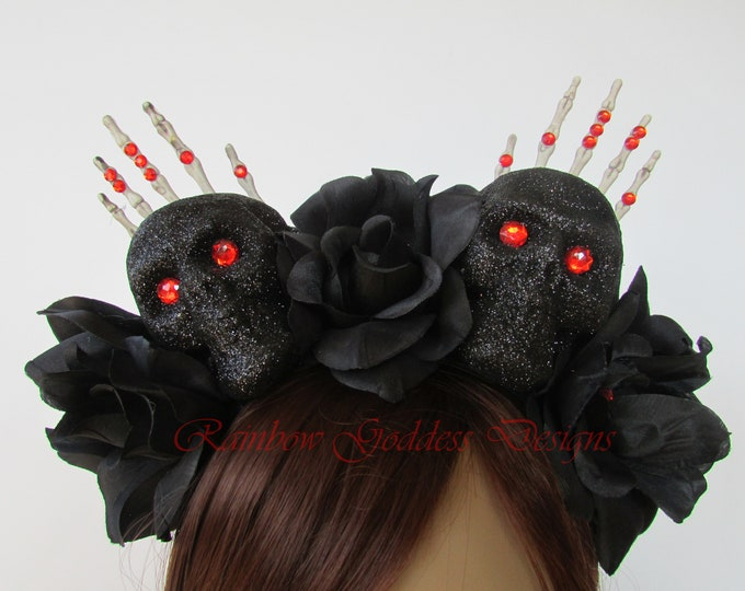 Halloween Headband, Day of the Dead Headpiece, Día de los Muertos Headband, Flower Crown, Rose Crown, Skull Headband, Skeleton Headdress