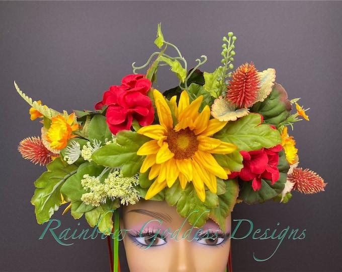 Fall Flower Crown, Catrina Flower Crown, Flower Head Wreath, Floral Headpiece, Floral Headband, Wedding Crown, Fairy Wreath, Sunflower Crown