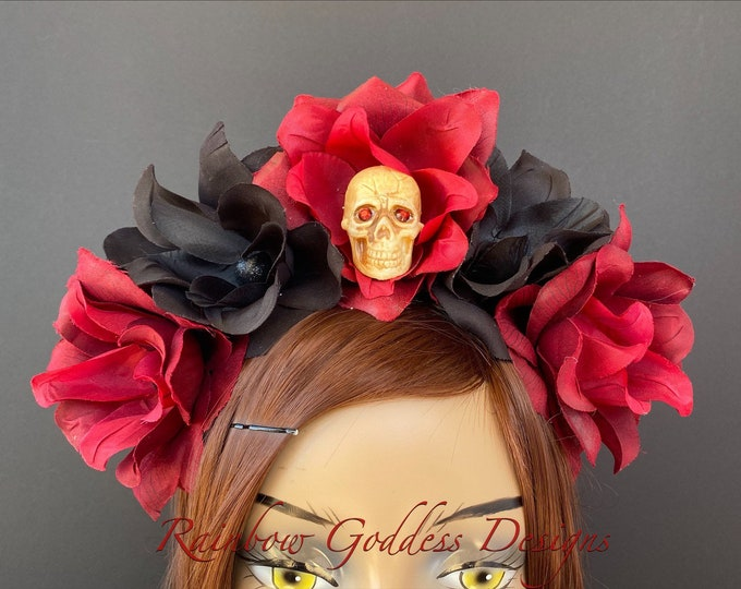 Burgundy Flower Crown, Floral Headpiece, Rose Headband, Floral Crown, Flower Crown Headband, Flower Headband, Day of the Dead, Halloween