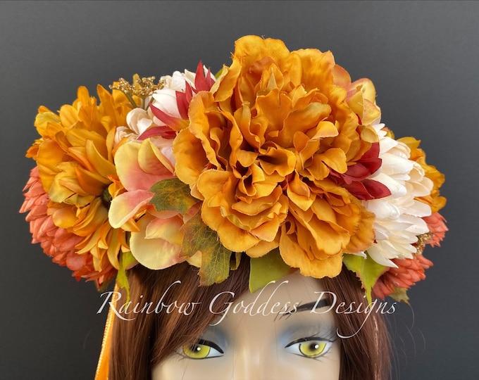Fall Flower Crown, Autumn Flower Crown, Flower Head Wreath, Floral Headpiece, Floral Headband, Wedding Crown, Fairy Wreath, Harvest Crown