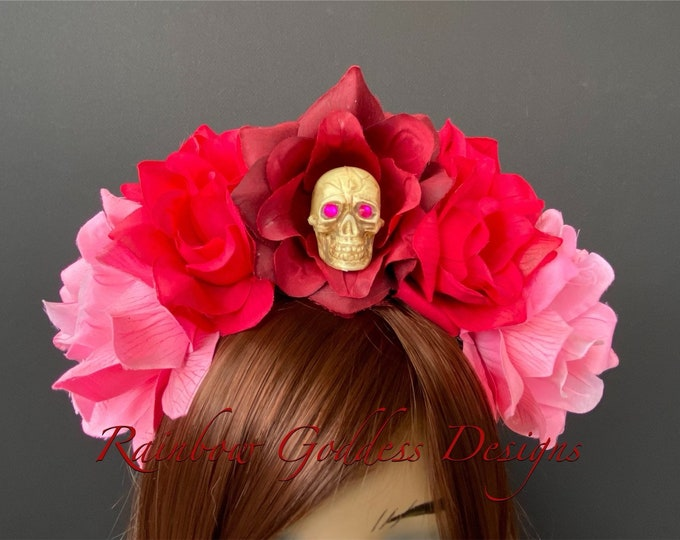 Pink Day of the Dead Headpiece, Rose Skull Crown, Flower Crown Headband, Flower Crown, Floral Headpiece, Floral Crown, Dia De los Muertos