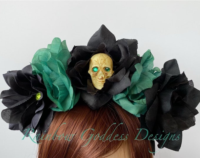 Green Flower Crown, Floral Headpiece, Rose Headband, Floral Crown, Flower Crown Headband, Flower Headband, Day of the Dead, Halloween