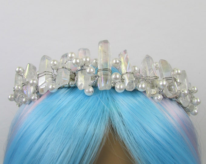 Angel Aura Crystal Crown, Crystal Tiara, Quartz Crown, Festival Crown, Rave Crown, Mermaid Crown, Mermaid Headpiece, Quartz Headband