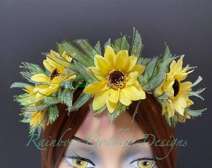 Sunflower Crown, Flower Crown, Floral Crown, Fairy Crown, Floral Headpiece, Festival Crown, Boho Flower Headband, Boho Headband, Hippie