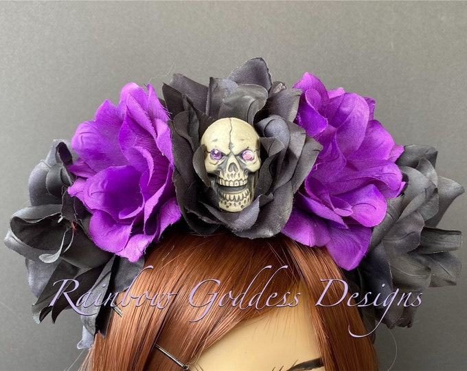 Purple Flower Crown, Floral Headpiece, Rose Headband, Catrina Crown, Flower Crown Headband, Flower Headband, Day of the Dead, Halloween