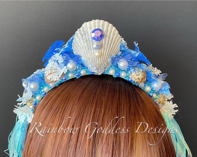 Blue Mermaid Headband, Mermaid Crown, Mermaid Headdress, Shell Crown, Mermaid Costume, Seashell Tiara, Mermaid Crown for Girls, Beach Crown