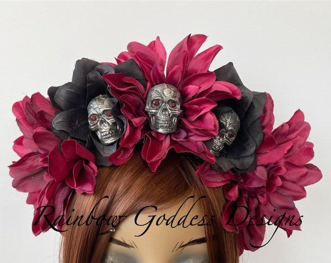 Rose Skull Crowns, Day of the Dead Flower Crown, Día de los Muertos Headdress, Veiled Headdress, Skull Headband, Burgundy & Black Rose Crown