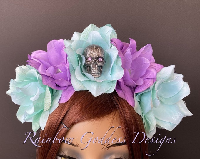Light Blue and Purple Flower Crown, Floral Headpiece, Rose Headband, Flower Crown Headband, Flower Headband, Day of the Dead, Halloween
