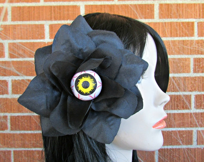 Halloween Hair Clip, Day of the Dead Hair Clip, Eyeball Hair Clips, Flower Hair Clip, Spooky Hair Clip, Día de los Muertos, Halloween, Goth