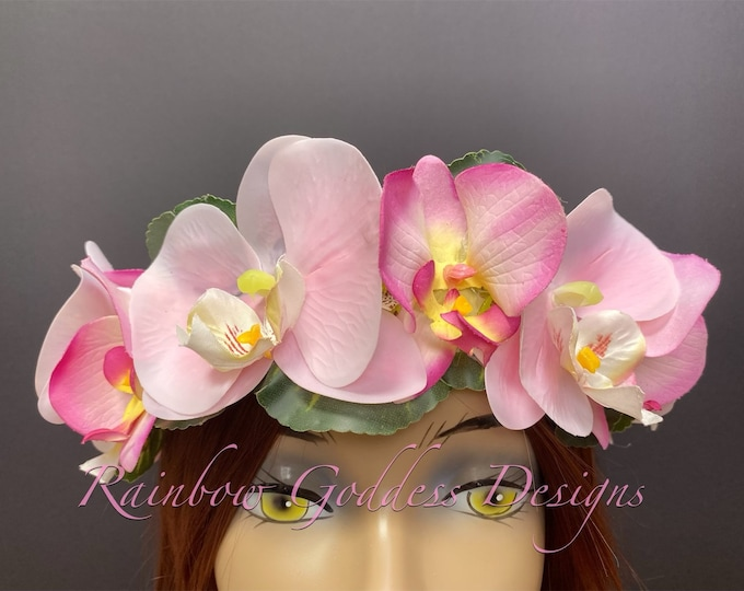 Pink Orchid Crown, Flower Crown, Tropical Crown, Floral Headpiece, Hawaiian Flower Crown, Wedding Crown, Tiki Oasis, Tiki Wedding, Tiki Bar