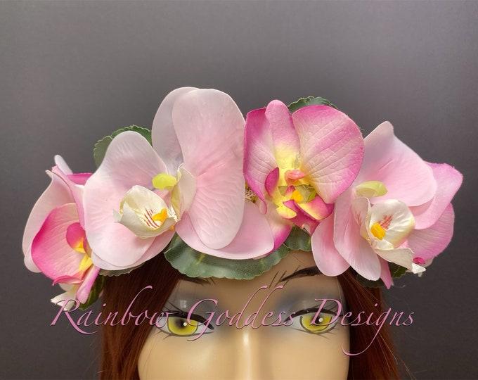 Pink Orchid Crown, Flower Crown, Tropical Crown, Floral Headpiece, Hawaiian Flower Crown, Wedding Crown, Tiki Oasis, Tiki Wedding, Tiki Bar