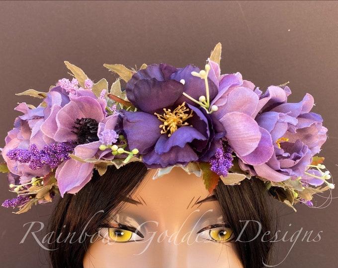 Purple Flower Crown, Floral Crown, Fairy Crown, Floral Headpiece, Flower Girl Headpiece, Festival Crown, Bridesmaid Crown