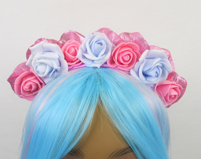 Blue & Pink Rose Crown, Valentines Flower Crown, Rose Headdress, Floral Headpiece, Floral Crown, Flower Girl Headband, All Ages, Kids Crown