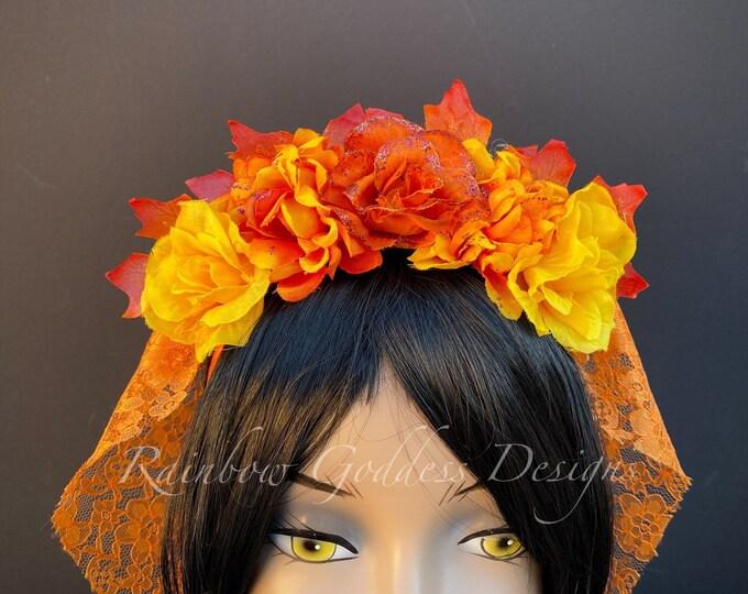 Fall Flower Crown, Orange Flower Headband, Veiled Headband, Floral Headpiece, Floral Crown, Day of the Dead Flower Crown, Halloween