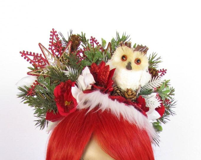 Christmas Owl Headband, Holiday Headband, Christmas Headband Adult, Winter Owl Crown, Winter Woodland Headband, Ugly Sweater Party Hairpiece