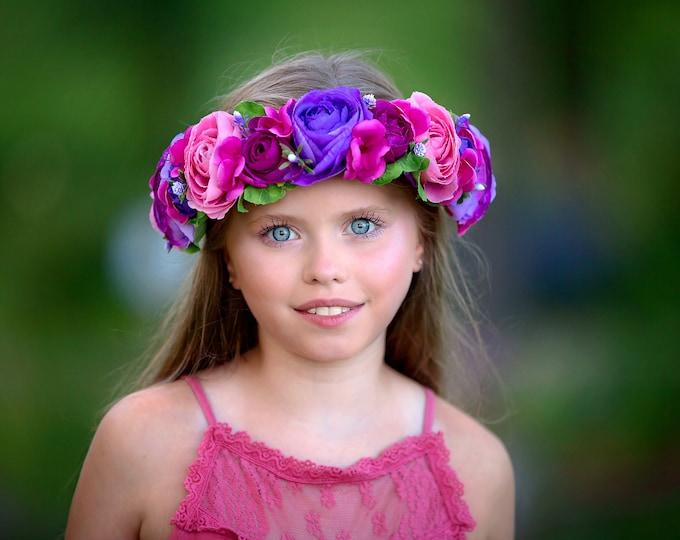 Pink and Purple Flower Crown, Floral Crown, Fairy Crown, Floral Headpiece, Flower Girl Headpiece, Festival Crown, Peony Crown
