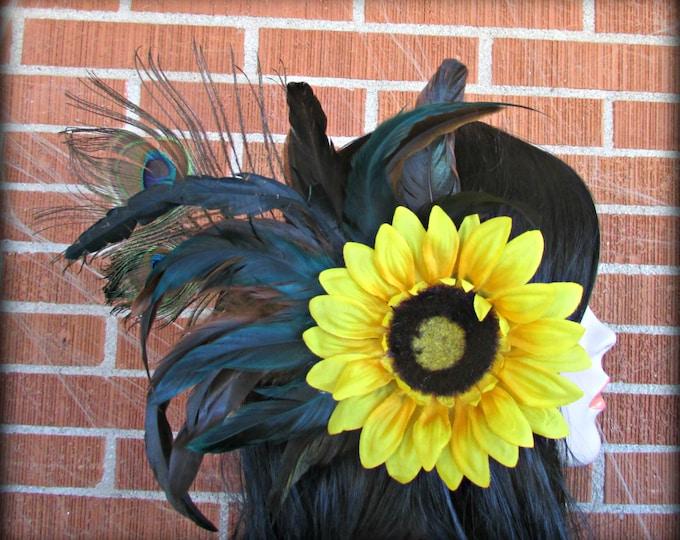 Sunflower Hair Clip, Peacock Hair Clip, Feather Hair Clip, Flower Hair Clip, Wedding Hair Piece, Festival, EDC, BurningMan, Yellow Sunflower