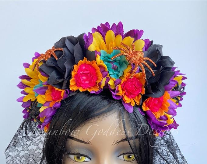 Colorful Dia de los Muertos Flower Crown, Rose Crown, Veiled Headband, Floral Headpiece, Floral Crown, Halloween, Frida Kahlo, Catrina