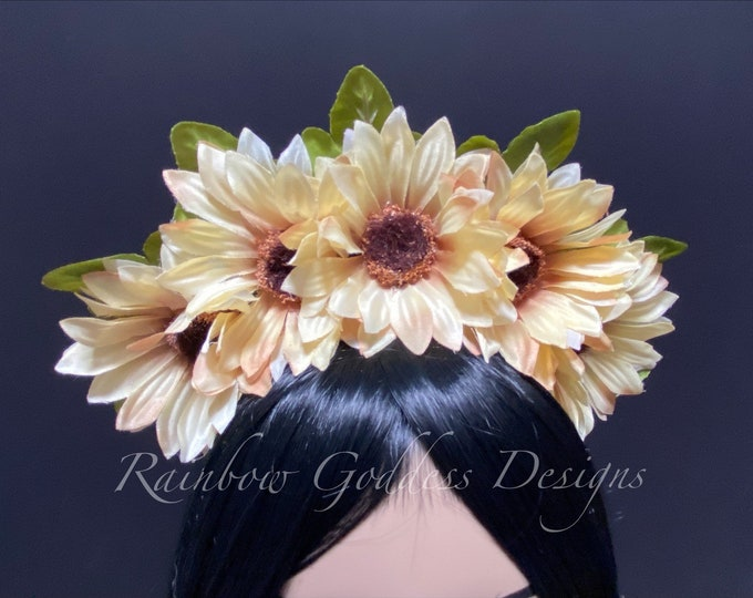 Tan Sunflower Crown, Floral Crown, Flower Crown Headband, Flower Head Wreath, Floral Headpiece, Festival, Day of the Dead, Fall, Autumn