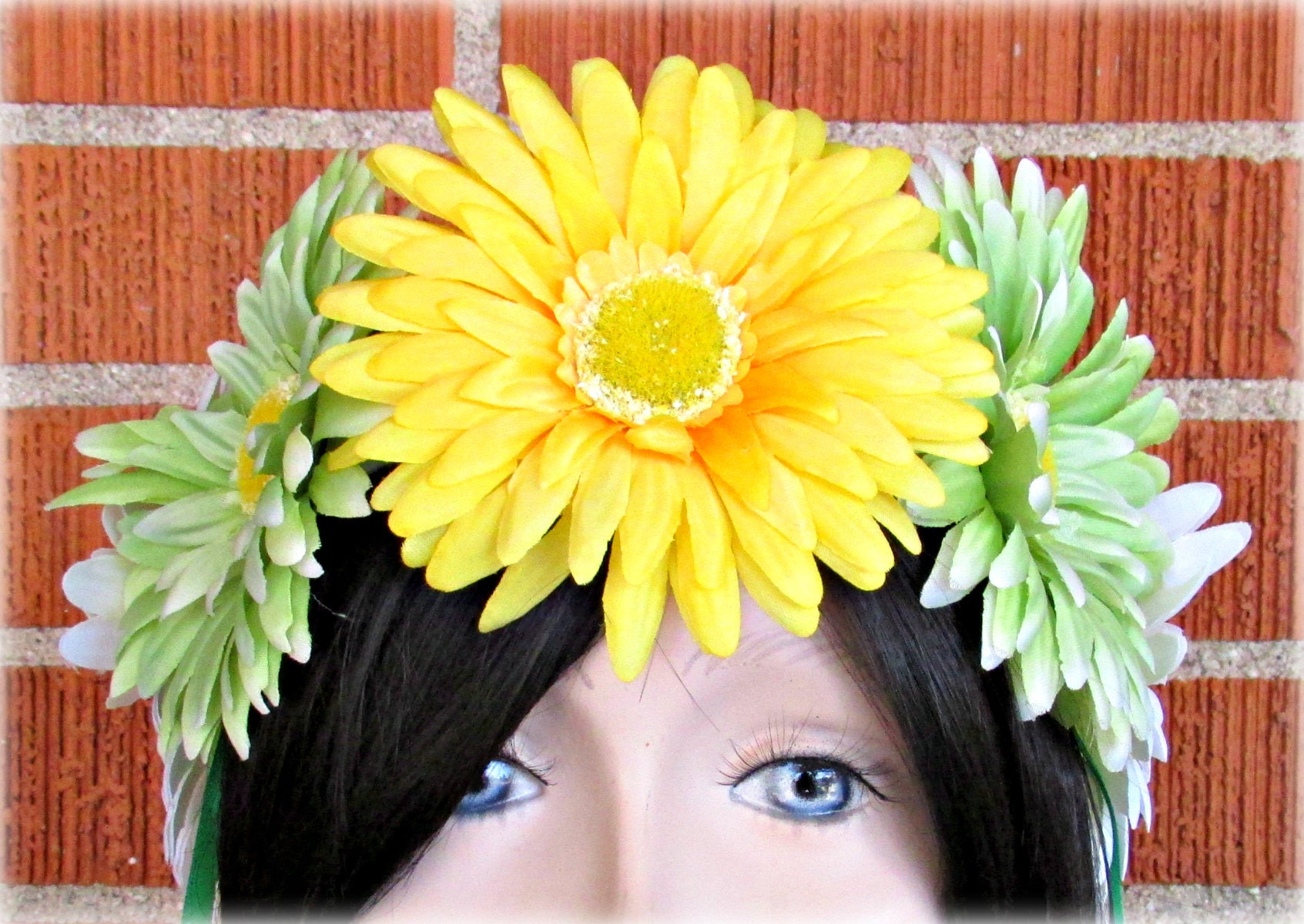 Yellow Green And White Flower Crown Floral Crown Flower Halo
