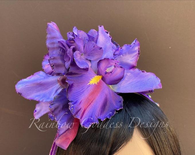 Purple Flower Headband, Purple Flower Crown, Fairy Crown, Floral Crown, Goddess Headpiece, Wedding, Tropical Headpiece