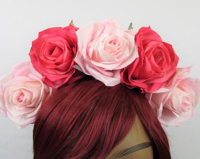 Pink Rose Crown, Valentines Flower Crown, Rose Headdress, Floral Headpiece, Floral Crown, Frida Headpiece, Flower Halo, Wedding, Bridal