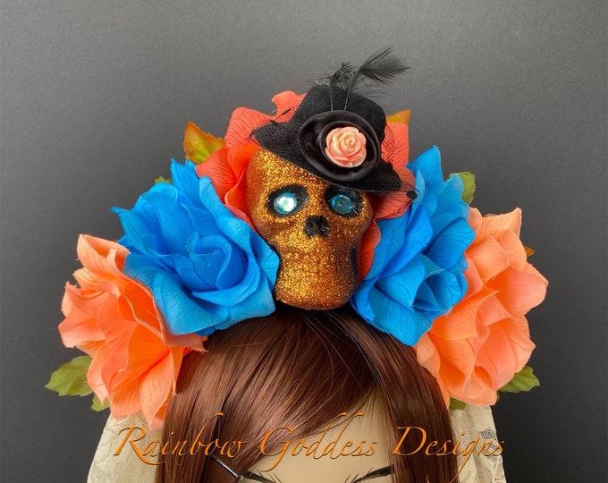 Day of the Dead Flower Headpiece, Día de los Muertos Headband, Flower Crown, Rose Skull Crown, Catrina, Kahlo Frida, Peach & Blue Rose Crown