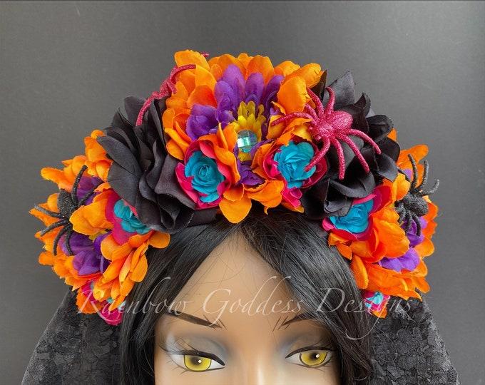 Colorful Rose Crown, Dia de los Muertos Flower Crown, Veiled Headband, Floral Headpiece, Floral Crown, Halloween, Frida Kahlo, Catrina