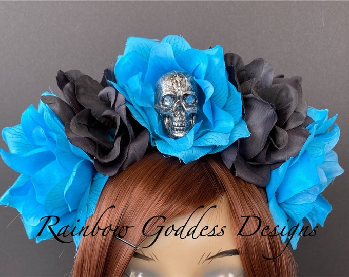 Blue Flower Crown, Floral Headpiece, Rose Headband, Floral Crown, Flower Crown Headband, Flower Headband, Day of the Dead, Halloween