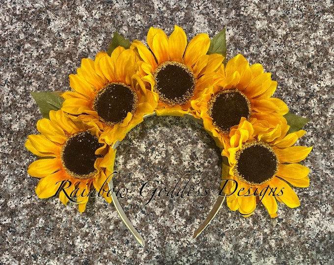Yellow Sunflower Crown, Floral Crown, Flower Crown Headband, Flower Head Wreath, Floral Headpiece, Festival, Day of the Dead, Fall, Autumn