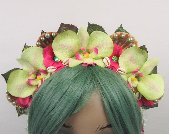 Tropical Crown, Mermaid Crown, Flower Crown, Green Orchid Crown, Mermaid Headband, Beach Headband, Tropical Headband, Beach Crown, Hawaiian