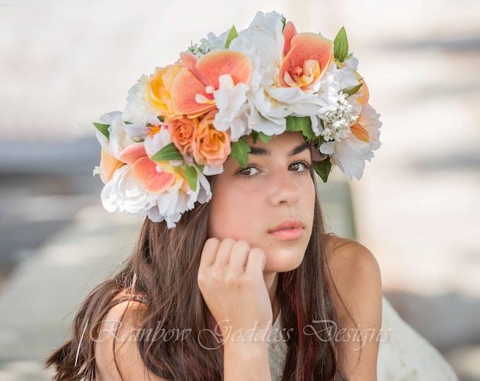 Orchid Flower Crown, Floral Crown, Tropical Crown, Floral Headpiece, Festival Crown, Hawaiian Flower Crown, Wedding Crown, Hawaiian Wedding