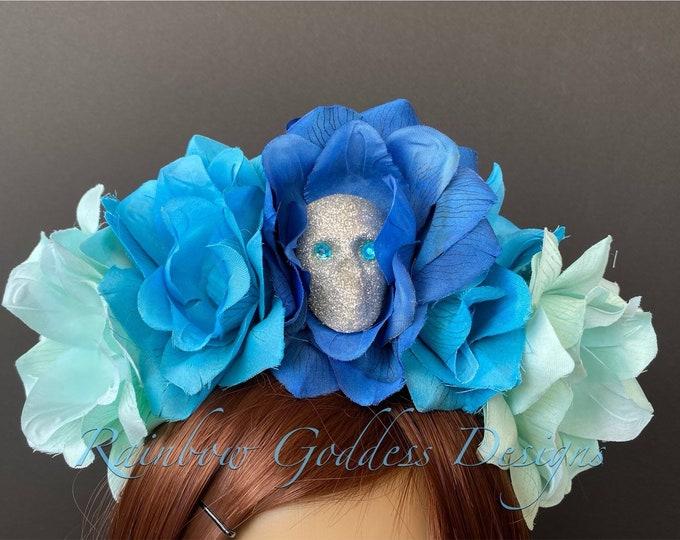 Blue Flower Crown, Floral Headpiece, Rose Headband, Flower Crown Headband, Flower Headband, Day of the Dead, Halloween Headband