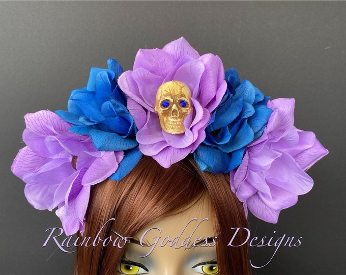 Purple and Blue Flower Crown, Floral Headpiece, Rose Headband, Flower Crown Headband, Flower Headband, Day of the Dead, Halloween Headband
