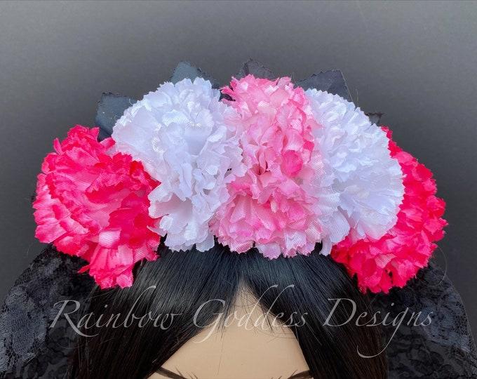 Pink & White Carnation Crown, Flower Headband, Veiled Headband, Floral Headpiece, Floral Crown, Day of the Dead Flower Crown, Halloween
