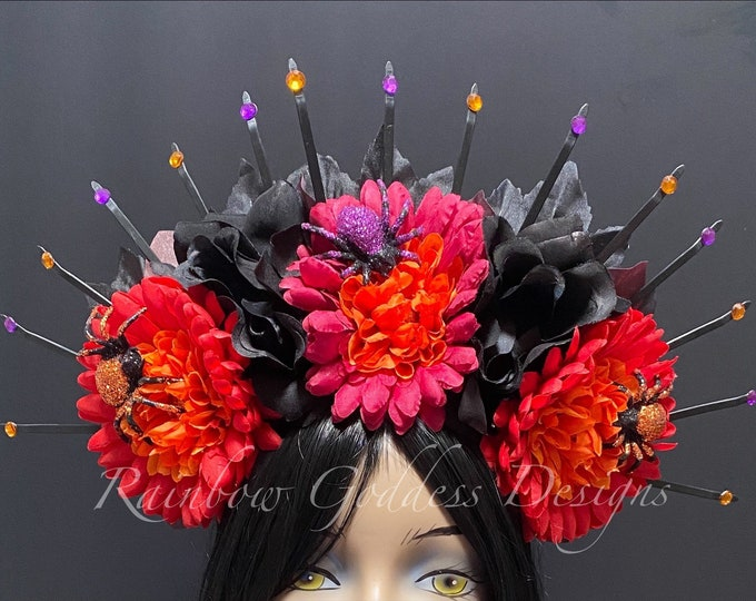 Spiked Flower Crown, Day of the Dead Flower Crown, Día de los Muertos Headdress, Veiled Headdress, Spider Headband, Rose Crown