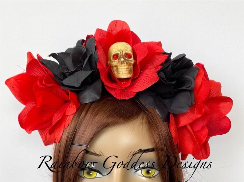 Day of the Dead Flower Crown Flower Head Wreath Floral Headpiece Veiled Headband Rose Skull Crown Floral Crown Flower Crown Halloween
