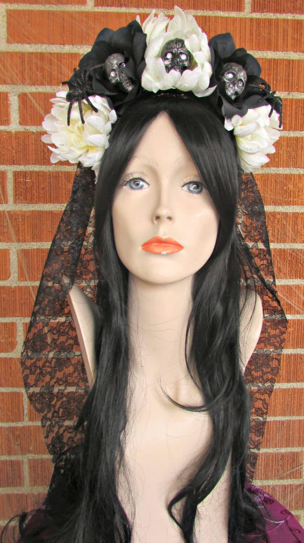 Rose Skull Crown Day Of The Dead Flower Crown Da De Los Muertos