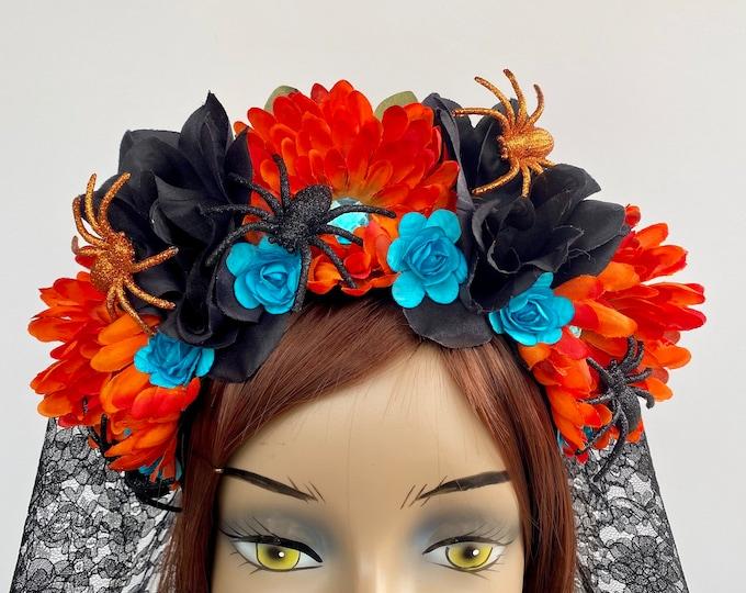 Day of the Dead Headpiece, Halloween Headband, Día de los Muertos Crown, Flower Crown, Flower Head Wreath, Floral Headpiece, Floral Crown