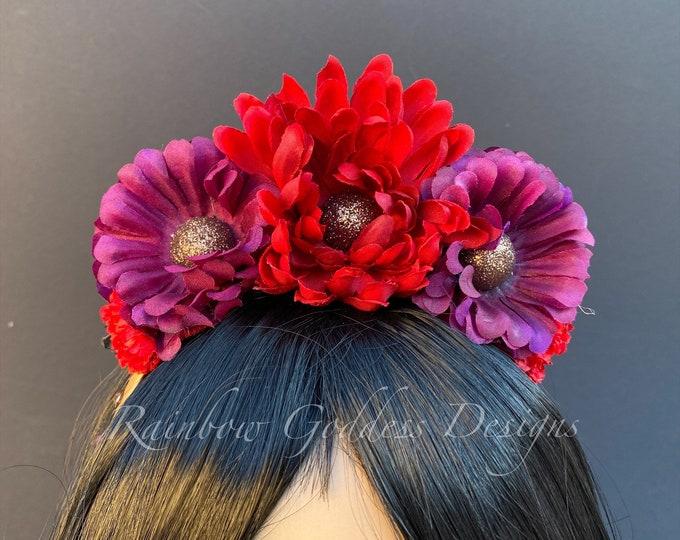 Burgundy Flower Headband, Burgundy Crown, Fall Flower Crown, Autumn Floral Crown, Flower Crown, Kids Headband, Kid Crown