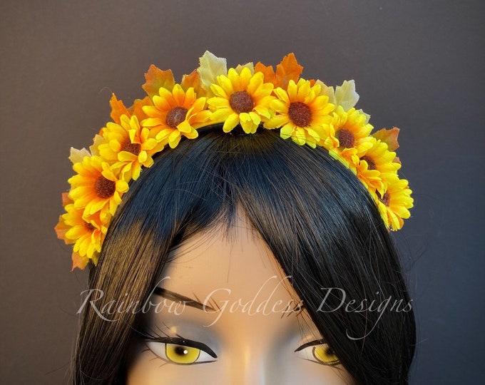 Sunflower Headband, Sunflower Crown, Fall Flower Crown, Autumn Floral Crown, Sunflower Tiara, Kids Headband, Kid Crown