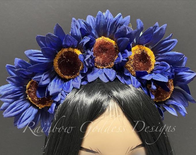 Blue Sunflower Crown, Floral Crown, Flower Crown Headband, Flower Head Wreath, Floral Headpiece, Festival, Day of the Dead, Fall, Autumn