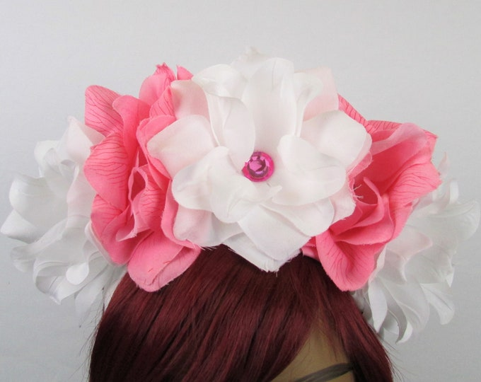 White & Pink Rose Crown, Flower Crown, Rose Headdress, Floral Headpiece, Floral Crown, Kahlo Frida Headpiece, Flower Halo, Wedding, Catrina